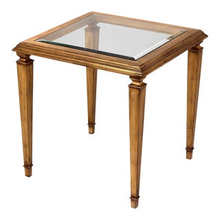 Scarborough House Antique Gold Leaf and Glass End Table For Sale
