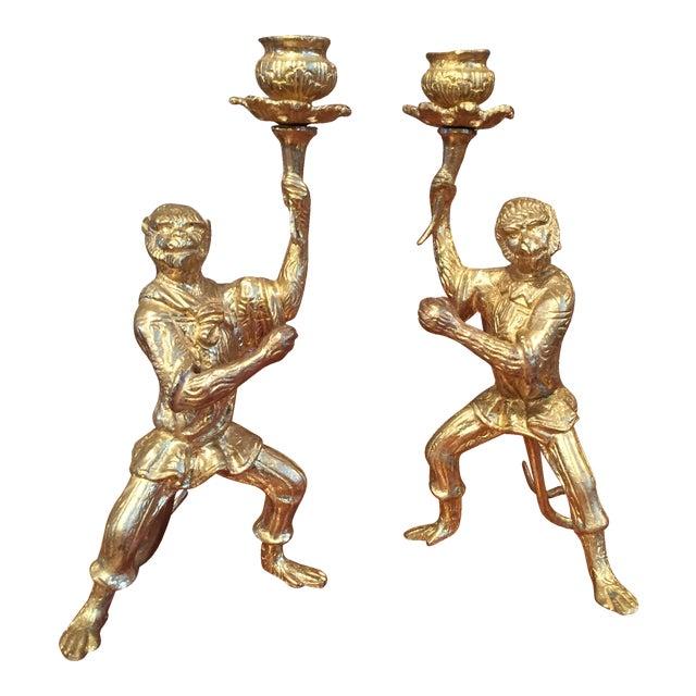 Pair of Gilt Bronze Monkey Candlesticks - Image 1 of 8