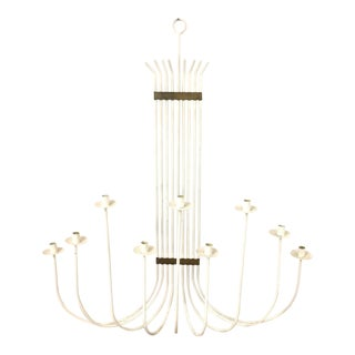 Mid-Century Modern White Painted Wrought Iron & Brass Wall Candelabra