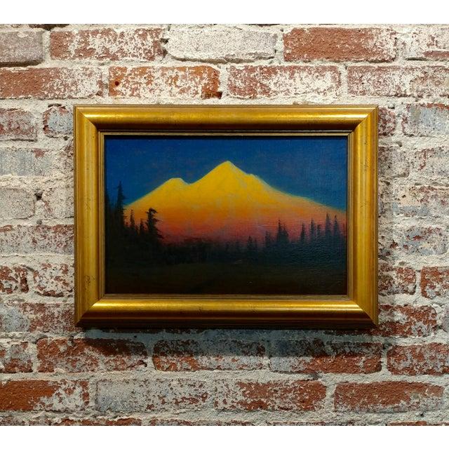James Everett Stuart- Sunset Glow at Mt Shasta -Beautiful Oil Painting 1921 For Sale - Image 10 of 10