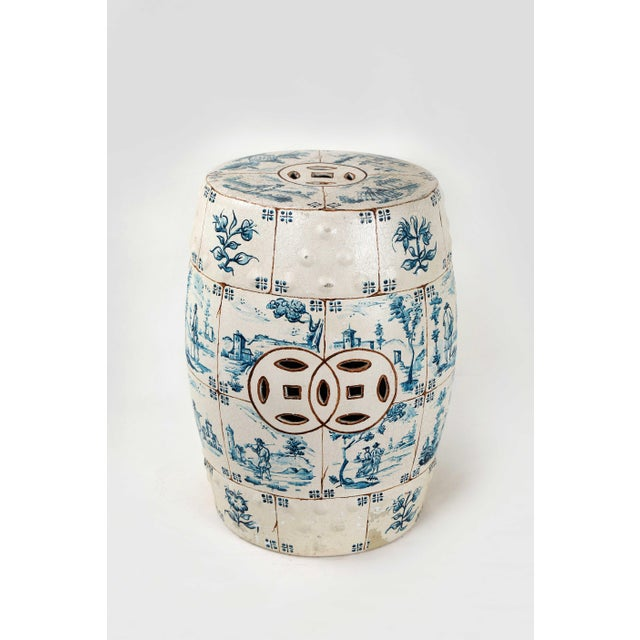 This vintage ceramic stool imitates being made of porcelain tiles with a crackle finish. In the center of each tile is a...