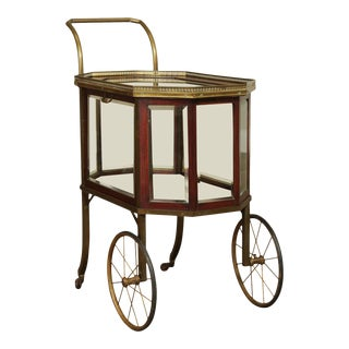 Edwardian Antique Mahogany and Brass Drinks or Bar Cart For Sale