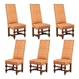 Set of Six 19th Century French Louis XIII Carved Walnut Tall Back Sidechairs