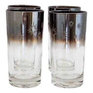 1960s Vitreon Queen's Lustreware Silver Fade Glitter Starburst Highball Glasses Set/4 For Sale
