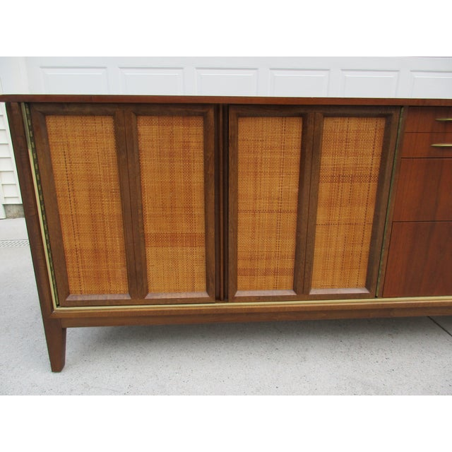 Mid Century Walnut Triple Dresser with Reversible Cane Side Panels For Sale - Image 5 of 11