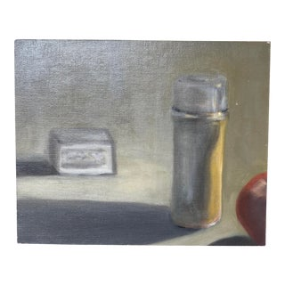 Thermos Still Life Painting on Canvas Board For Sale