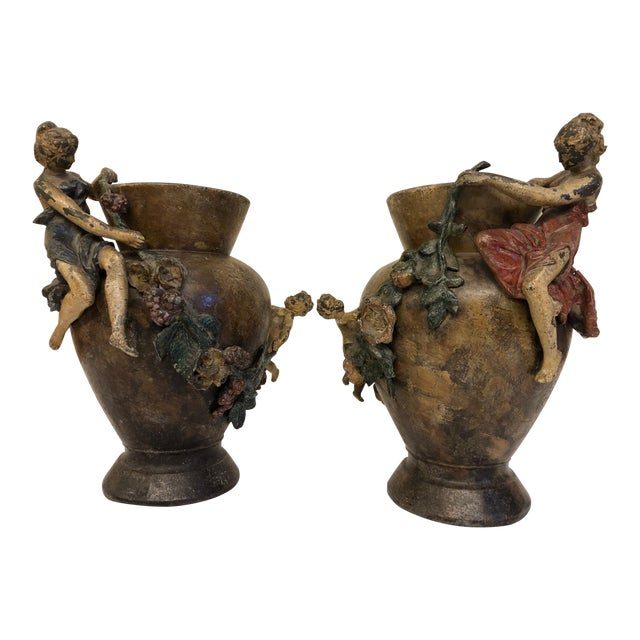 Antique French Polychrome Metal Vases Pair Chairish