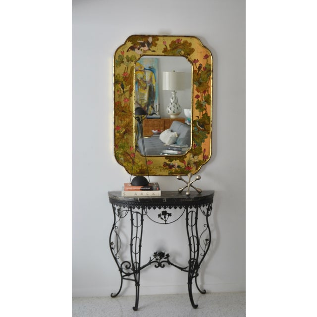Hollywood Regency Hollywood Regency Hand-Painted Giltwood Wall Mirror For Sale - Image 3 of 12