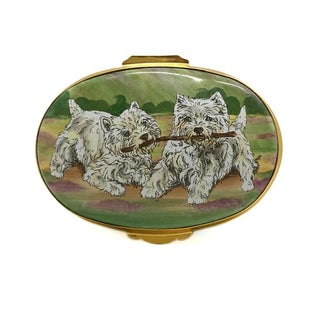 Two West Highland Terriers Enamel Box Preview