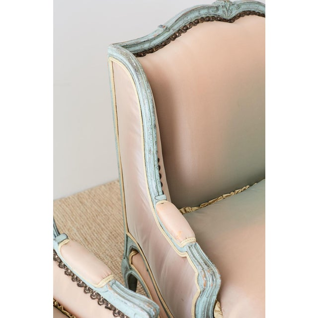 Pair of Louis XV Style Marquise Winged Bergère Armchairs For Sale - Image 9 of 13