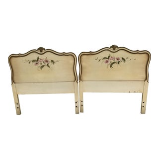 1960s French Provincial Louis Xbox Hand-Painted and Hand Carved Twin Headboards - a Pair For Sale