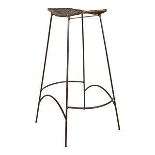 Mid-Century Wrought Iron Wicker Stool Arthur Umanoff Style For Sale