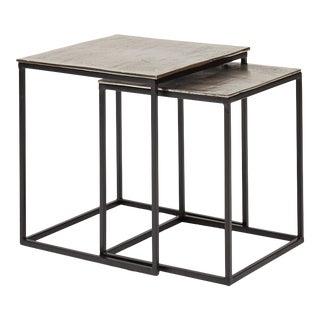 Darryl End Table, Vintage Silver - Set of 2 For Sale