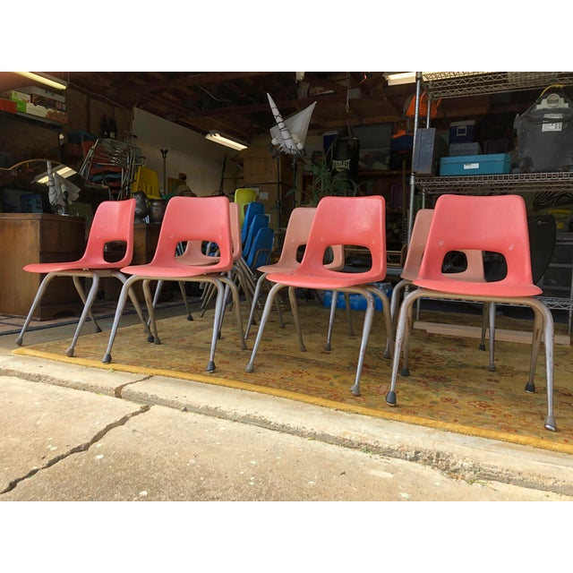 Orange Vintage Mid Century Fiberglass Chairs- Set of 7 For Sale - Image 8 of 10