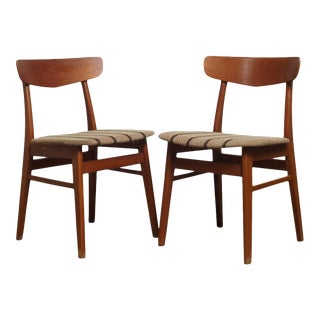 1960s Vintage Farstrup Danish Modern Teak Dining Chairs- A Pair For Sale