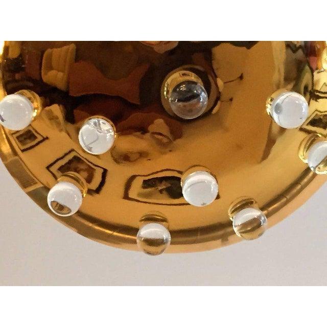 Brass 1960s Mid-Century Modern Brass Crystal Orb Pendant Lighting For Sale - Image 8 of 10