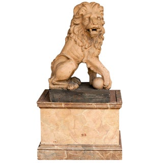 Italian 19th Century Terracotta Lion on Faux Marble Pedestal For Sale