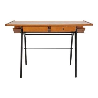 Hartmut Lohmeyer Oak Desk with Integrated Shelf and Ebonized Legs For Sale