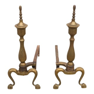 Vintage Brass Fireplace Andirons Traditional Paw Foot - a Pair