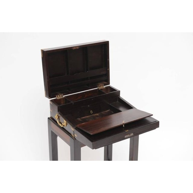 Campaign Late 19th Century British Campaign Rosewood Lap Desk on Custom Stand For Sale - Image 3 of 6