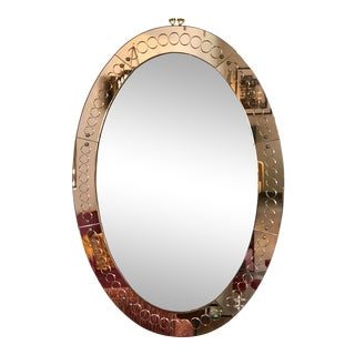 Large Mid Century Modern Cristal Arte Oval Glass Mirror, Italy, 1960s For Sale