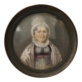 Fine Mid 19th Century Portrait Miniature of a Woman Wearing a Lace Bonnet For Sale