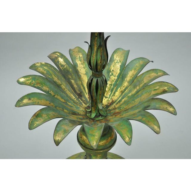Vintage Mid-Century Italian Hollywood Regency Style Gold Tole Metal Palm Leaf Statue For Sale In Philadelphia - Image 6 of 11