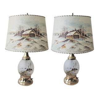 Mid Century Glass Table Lamps With Fiberglass Shades - a Pair For Sale