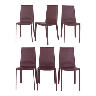 Arrben of Italy Leather Clad High Back Salinas Two Dining Chairs - Set of 6 For Sale