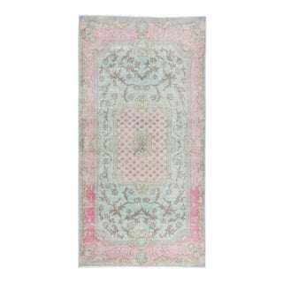"""1970s Oushak Soft Pastel Floral Wool Hand-Knotted Rug - 3'6"""" X 6'10.5"""" For Sale"""