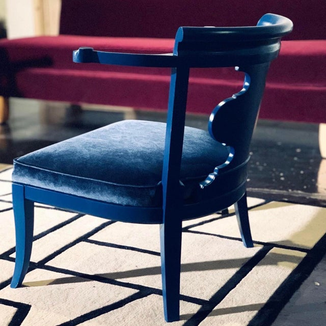 Mid Century Chinoiserie Style Horseshoe Chairs Redefined in Klein Blue - a Pair For Sale In Los Angeles - Image 6 of 12