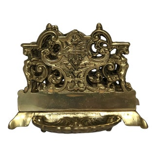 1960s American Classical Brass Letter Holder With Gryphons For Sale