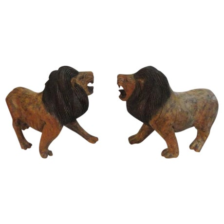 Pair of 19th Century Monumental Hand Carved & Painted Table Top Lions - Image 1 of 10