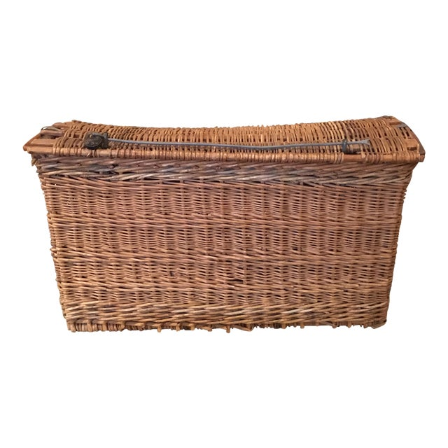 20th Century French Woven Wicker Basket For Sale