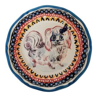 Vintage Nathalie Lete Pekinese Dog Dinner Plate French For Sale
