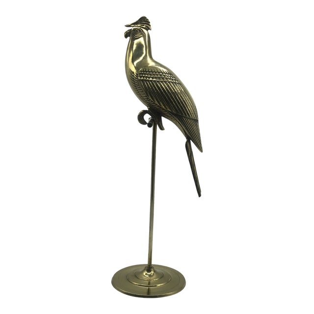 Hollywood Regency Mid Century Solid Brass Cockatoo on Perch Figurine For Sale
