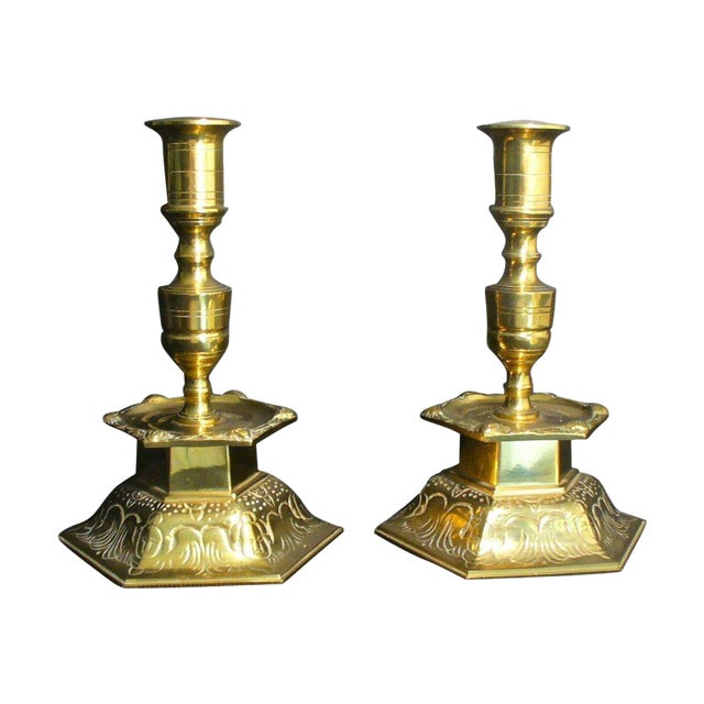 Ystad Metall Swedish Brass Candleholders - A Pair For Sale