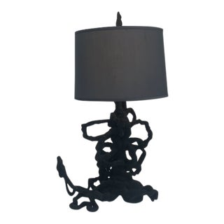 Sculptural Ceramic and Flocked Table Lamp by Zuckerhosen For Sale