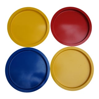 1970s Mid Century Modern Gunnar Cyren for Dansk Primary Color Stacking Dinner Plates - Set of 4 For Sale