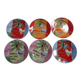 Vintage Godinger Tropical Tiki Appetizer Plates, Multicolored Set of 6