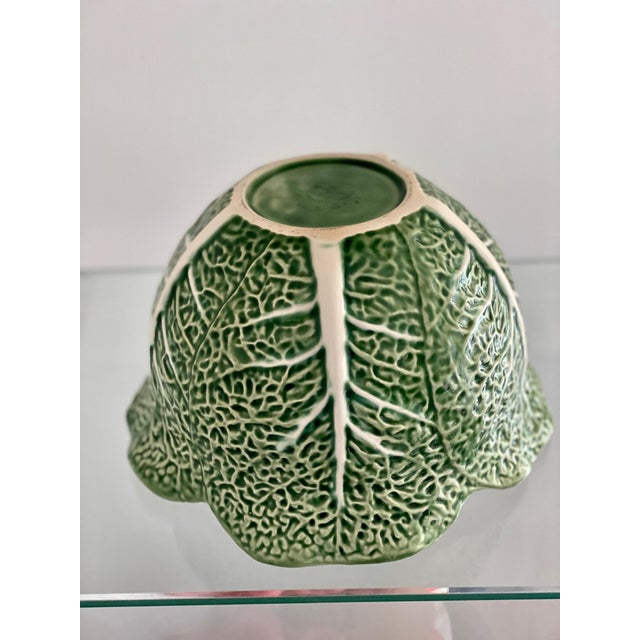 Late 20th Century Vintage Bordallo Pinheiro Green Cabbage Leaf Bowl For Sale - Image 5 of 8