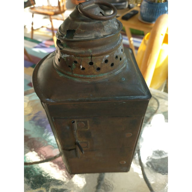 Copper Mid 20th Century Copper Nautical Lanterns - a Pair For Sale - Image 8 of 13