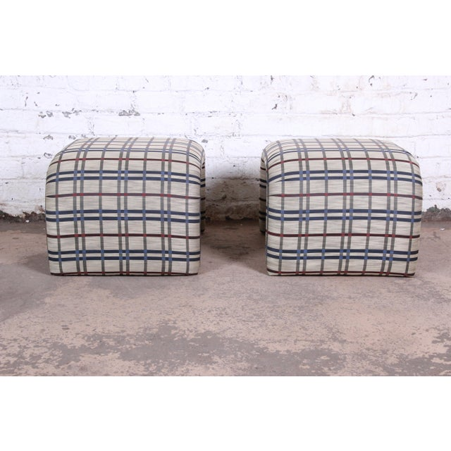 Textile Leon Rosen for Pace Collection Mid-Century Modern Waterfall Stools or Ottomans, Pair For Sale - Image 7 of 10