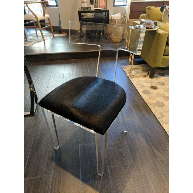 Animal Skin Contemporary Black Cowhide and Lucite Side Chair For Sale - Image 7 of 7