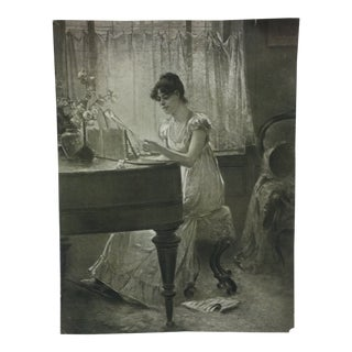 "Vintage Figurative Black & White Print ""The Old-Old Song"" by Percy Moran For Sale"