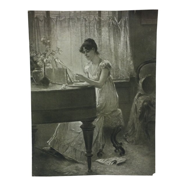 """Vintage Figurative Black & White Print """"The Old-Old Song"""" by Percy Moran For Sale"""