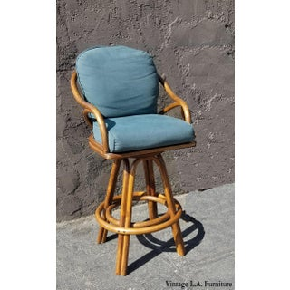 Vintage Mid Century Bamboo Rattan Green Swivel Barstool Preview