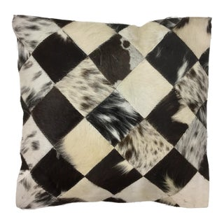 Genuine Leather Backed Pony Hair Patchwork Pillow Cover For Sale