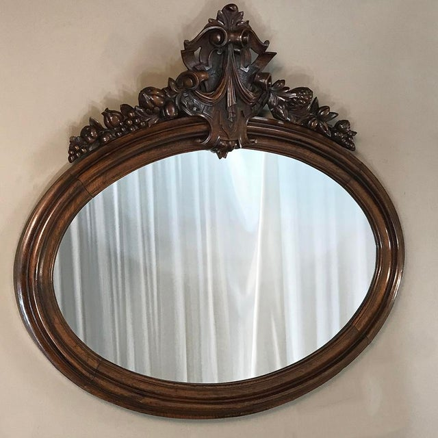 19th Century French Louis XVI Walnut Oval Mirror For Sale - Image 4 of 13