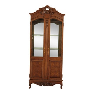 1990s Bau French Louis XV Walnut Lighted Corner Cabinet For Sale